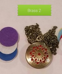 Brass 2 Aroma Therapy Diffuser Locket Necklace