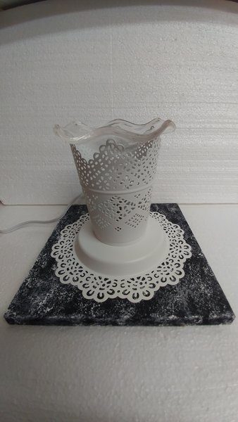 One of a Kind White Metal Lace Looking Adjustable Electric Burner