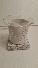 One of a Kind Small White Metal Flower Electric Burner
