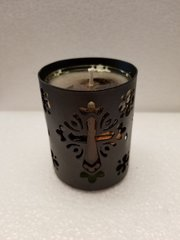 19 Chocolate Black Metal Cross with Glass Gel Candle