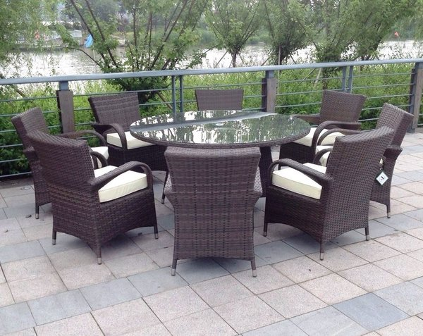 madrid 6 seater round dining set - Rattan Garden Furniture 6 Seater