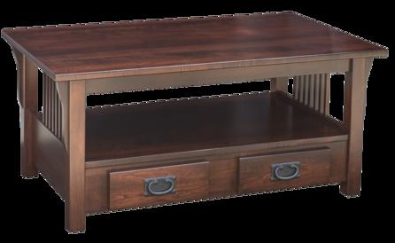 Pr61 db prairie mission coffee table w drawer on bottom for Coffee table 40 x 24