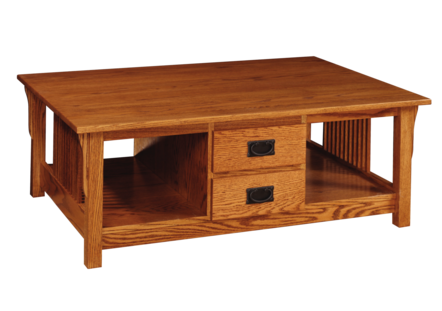 Pr60 Prairie Mission Coffee Table W 4 Drawers 34 X 48 X 18 Amish Attic Furniture Store
