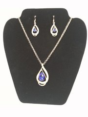 Jewelry Set - 2pc Austrian Blue Sapphire 18K Gold filled Nacklace & Earrings