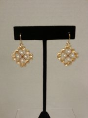 Jewelry Earrings Square Gold with Pearls