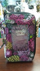 Quilted Wristlet Black and Pink Floral