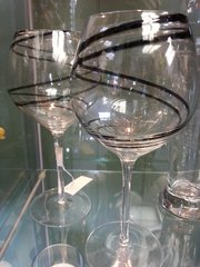Wine Glasses Spiral Black