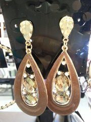 Jewelry Earrings Brown Teardrop and Gold with Gem Accent