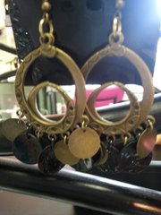 Jewelry Earrings Antique Brushed Gold with Duo Oval Circles
