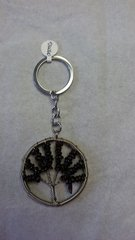 Tree of Life Garnet Stone Keychain