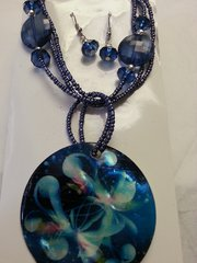 Jewelry Set Caribbean Shell Collection Blue Flower Print