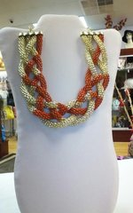 Jewelry Neclace Braid Red & Gold