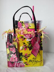 Gift Basket - Betsey Johnson Mini Tote with Tumbler (Yellow)