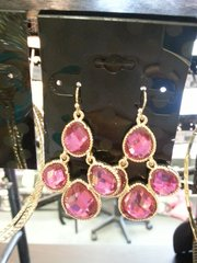 Jewelry Earrings Gold with Pink Gem Crystals