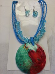 Jewelry Set Caribbean Shell Collection Blue Red Butterfly