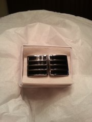 Cufflinks Silver & Black Square