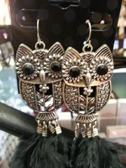 Jewelry Earrings Owl with Feathers