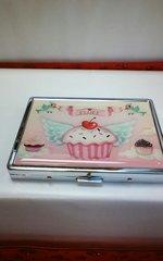 Fluff Metal Business Card Case-Cupcake