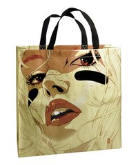 Recycled Plastic Handbag - Blue Q - Face Tote