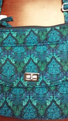 Quilted Hipster with turnlock Blue Green Tropical