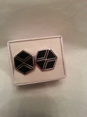 Cufflinks Black & Silver Octogon