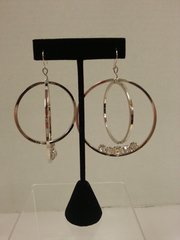 Jewelry Earrings Hoop Silver with Clear Gems