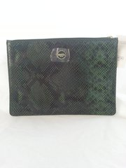 Coach Signature Green Embossed Snake Tech Pouch