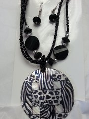 Jewelry Set Caribbean Shell Collection Black Cheetah Zebra Print