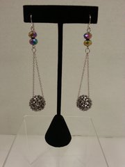 Jewelry Earrings Mini Chain Silver Crystal Ball