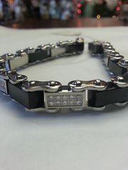 Roller Chain Bracelet with Black Geometric Squares and Paved Gems Stainless Steel