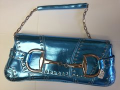 Handbag - Metallic Blue Envelope