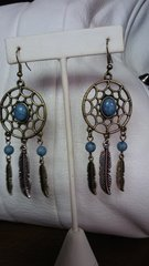 Jewelry Earrings Dreamcatcher Blue Turquoise Feather