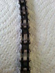 Bracelet Motorcycle Chain Black Rubber Link 316L Stainless Steel Biker Bracelet