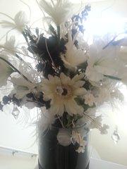 Floral Arrangement White and Black