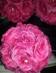Wedding Bouquet Pomander Flowers with Rhinestones