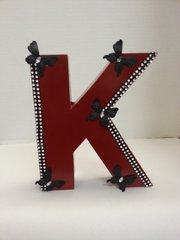 "Wall Hanging Wood Letter ""K"" Red"