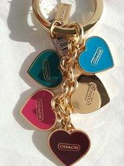Coach Signature Key Ring Multi Heart Mix Key Ring #F66398
