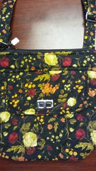 Quilted Hipster Purse with Turnlock Black Floral