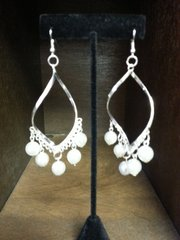 Wedding Earrings Twist Silver with Pearls