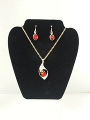 Jewelry Set - 2pc Austrian Ruby Red 18K Gold filled Necklace & Earrings