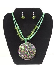 Jewelry Set Caribbean Shell Collection Green White Pink Leopard Print