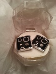 Cufflinks Black with Circle Silver Accent