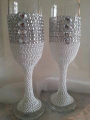 Wedding Toasting Glasses Pearl and Rhinestone