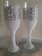 Wedding Toasting Glasses Pearl and Rhinestone