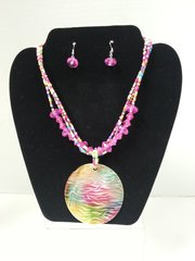 Jewelry Set-Caribbean Shell Collection-Necklace & Earrings Multi Pink Wave