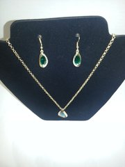 Jewelry Set - 2pc Emerald Green Austrian 18k Gold filled Necklace & Earrings