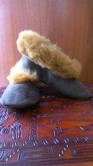 Handmade Slippers w/ brown alpaca fur