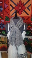 Hand Knit Baby Alpaca Pass Through Scarf, Gray