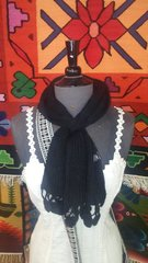 Hand Knit Baby Alpaca Pass Through Scarf, Black