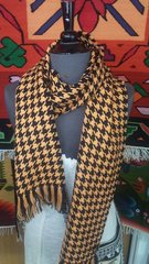 Houndstooth Alpaca Scarf, Black & Orange